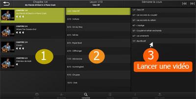 Interface : Chapitres / leçons / séquences