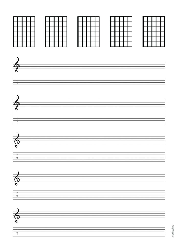 Music Paper Music Sheet Tablatures Blank Chord Charts